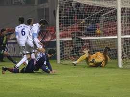 Jugadores del Mirandés celebrando un gol ante el Huesca. Twitter