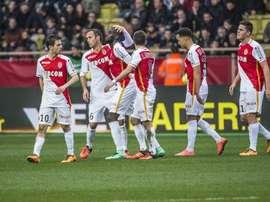 Quelques joueurs de l'AS Monaco célèbrent la victoire face au Nice. AFP