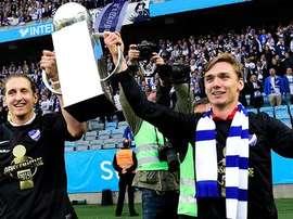 Jugadores del Norrköping, celebrando tras haber conquistado la Liga Sueca. Twitter