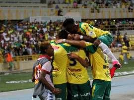Jugadores de Real Cartagena celebrando la victoria ante América. Twitter.