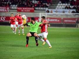 Bruno Herrero marcó el 1-0 en el minuto 1. RealMurcia