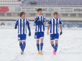 Jugadores del Sokol Saratov en el partido ante el SKA-Energiya. Twitter.