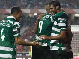 Jugadores del Sporting de Lisboa, celebrando un gol. Twitter