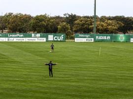 Jogadores do Sporting voltaram a trabalhar no centro de treinamento. Twitter/Sporting_CP