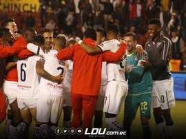Jugadores de Liga de Quito celebran el pase a semifinales. Twitter/LDU_Oficial