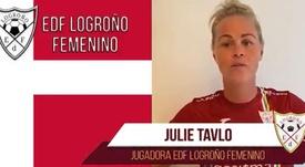 Julie Tavlo ficha por el EDF Logroño Femenino. Twitter/EdfFemenino