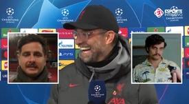 Klopp no pudo evitar la comparación al ver el nuevo bigote del periodista. Captura/EsporteInterativo