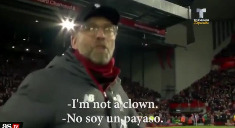 Jürgen Klopp s'énerve après la rencontre face à City. . Capturas/Sky/ASTV/Telemundo