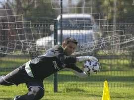 Justo Villar, en un entrenamiento con Colo Colo. Twitter