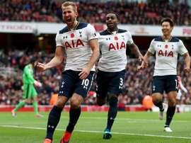 Kane celebrates scoring Spurs' equaliser. TottenhamHotspur