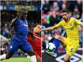 The positioning of Kante and Jorginho has come up for lengthy debate this season. AFP/MONTAGE