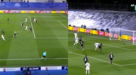 Karim Benzema made it 1-0 to Real Madrid. Screenshot/MovistarLigadeCampeones