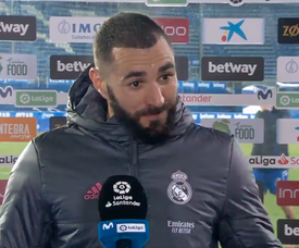 Benzema spoke to the media after the game. Screenshot/MovistarLaLiga
