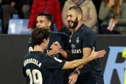 Benzema porta avanti i suoi realizzando una doppietta. AFP