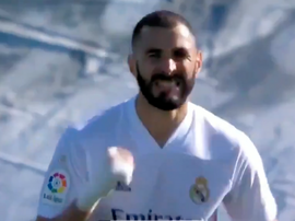 Benzema made it 2-0 Real Madrid right on half-time. Screenshot/MovistarLaLiga