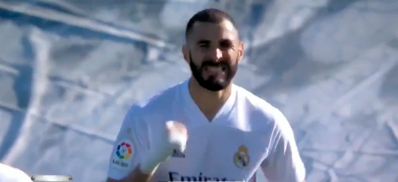 Benzema made it 2-0 Real Madrid right on half-time. Screenshot/MovistarLaLiga