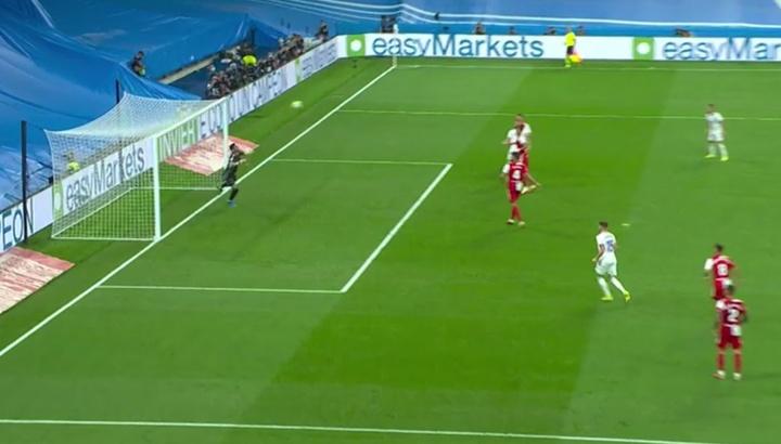 Benzema marcó justo tras el descanso. Captura/MovistarLaLiga