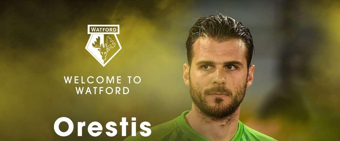 O internacional grego vai jogar pela primeira vez em Inglaterra. Twitter/Watford
