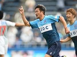 Kazu Miura celebra un tanto con su equipo, el Yokohama FC. Reddit