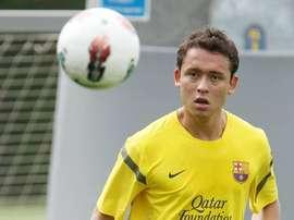 Keirrison, en uno de sus pocos entrenamientos en el Barça. FCBarcelona