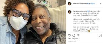 Una de las hijas de Pelé informó sobre la mejora del ex jugador. Instagram/iamkelynascimiento