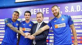 El Getafe presentó a sus refuerzos con la camiseta de la Europa League. GetafeCF