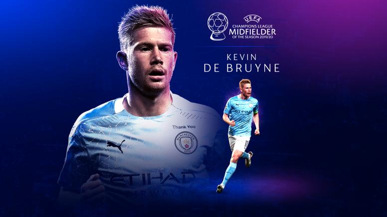 De Bruyne, el mejor de la Champions League 2019-20. Captura/UEFA