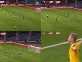 De Bruyne cerró la goleada de Bélgica en Escocia con un pase a la red. Captura/WODirect