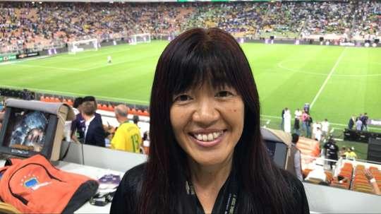 Kiyomi Fujiwara Nakamura cubrió el Brasil-Argentina. Twitter/Ale_Lozetti