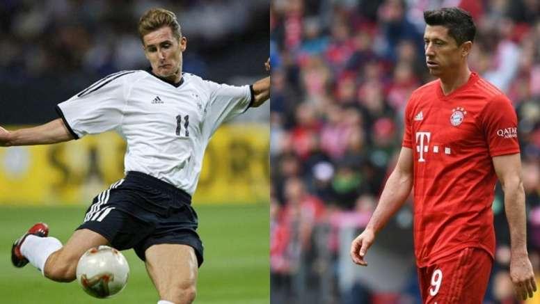 Klose y Lewandowski, dos de las mayores leyendas en la historia del Bayern. AFP/BeSoccer