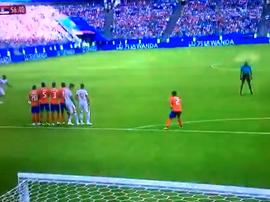 Kolarov scored a free-kick to make it 0-1. Twitter/WCGoalz