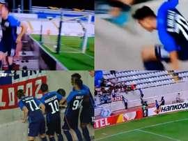 Kololli se jugó la vida para celebrar su gol. Captura