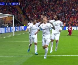 Kroos hizo el 0-1 en Estambul. Captura/MovistarLigadeCampeones