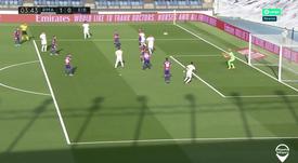 Kroos put RM ahead very early on versus Eibar. Captura/Movistar+