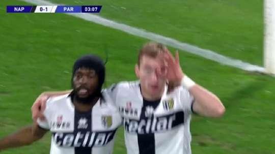 El Parma no tardó en adelantarse. Captura/BeInSports