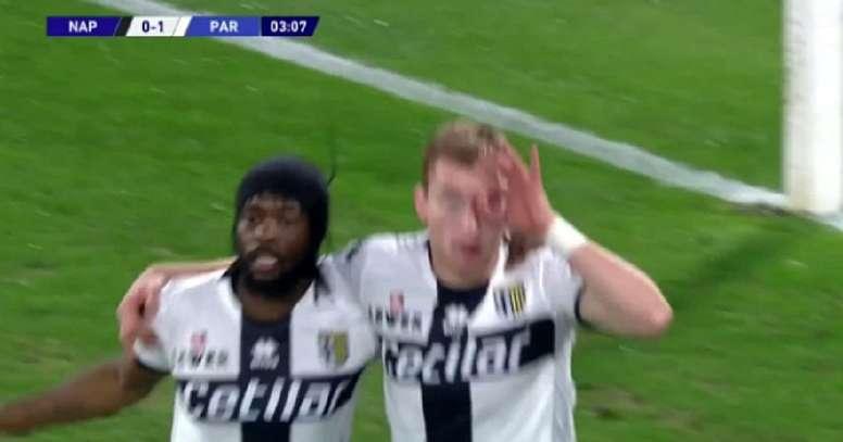 Parma abriu o placar logo no início do jogo. Captura/BeInSports