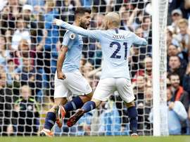 Kun Agüero marcou o terceiro gol do City contra o Huddersfield. Twitter @Ladbrokes