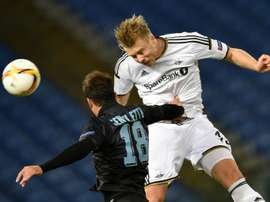 L'attaquant norvégien Alexander Soderlund avec Rosenborg contre la Lazio en Europa League. AFP