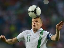 L'Irlandais Damien Duff face à l'Italie, lors de l'Euro le 18 juin 2012 à Poznan en Pologne. AFP