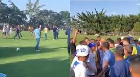 La 'torcida' de Cruzeiro irrumpió en un entrenamiento. Captura/FOXSports