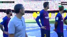 Messi y compañía quisieron disfrutar del ambiente de la hinchada argentina. Captura/TNTSports