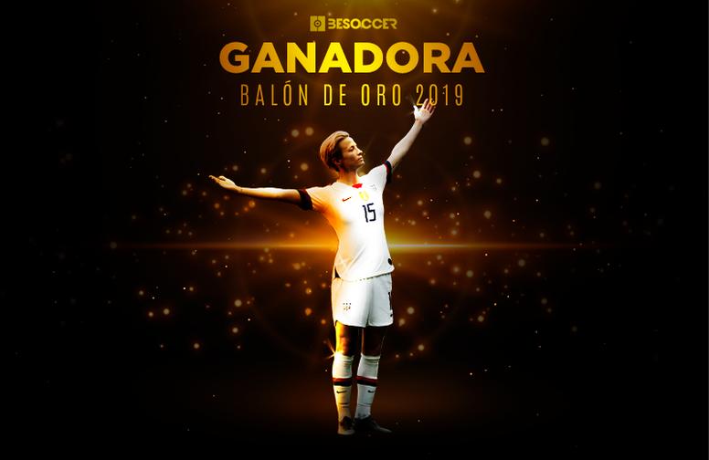 Megan Rapinoe, ganadora del Balón de Oro 2019. BeSoccer