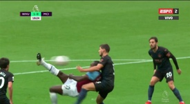 Michail Antonio scored a superb goal to put West Ham ahead. Screenshot/ESPN