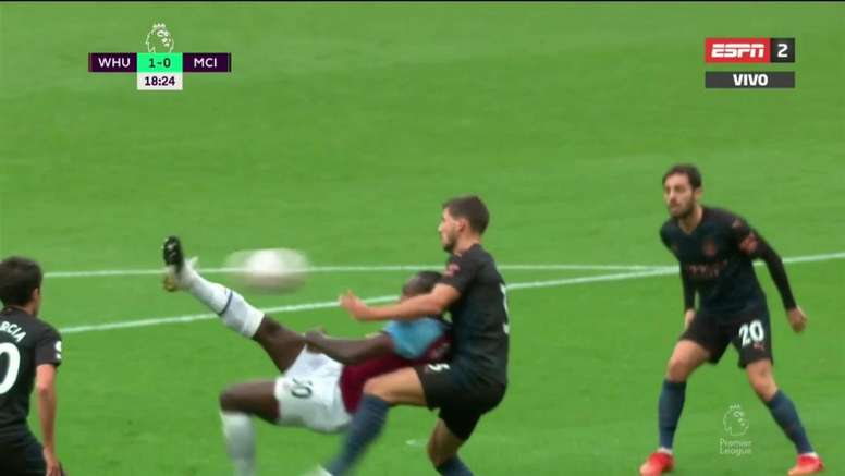 El West Ham se adelantó con una obra de arte de Antonio. Captura/ESPN