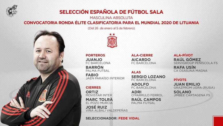 Varias son las novedades de Fede Vidal en la lista. Twitter/SeFutbol