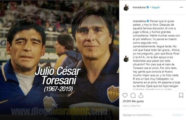 Maradona lloró la muerte de Torrsani. Instagram/maradona