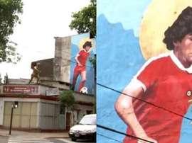 La dedicatoria de La Paternal a Maradona. Twitter/TyCSports