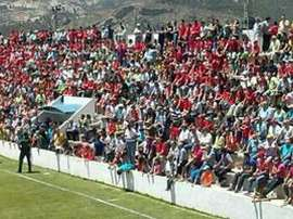 La grada lateral de La Arboleja, estadio del Cieza, durante un partido. CD_Cieza