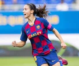 Aitana hizo uno de los cinco goles de la goleada ante el Logroño. Twitter/FCBfemeni