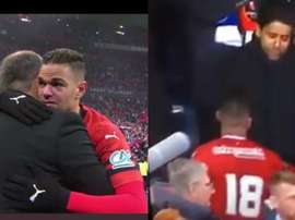 Ben Arfa's tears and his gretting to Al-Khelaïfi. Capturas/beINSports
